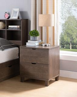Y4303 Smart Home Vintage Walnut 2 Drawer Night Stand for Bed